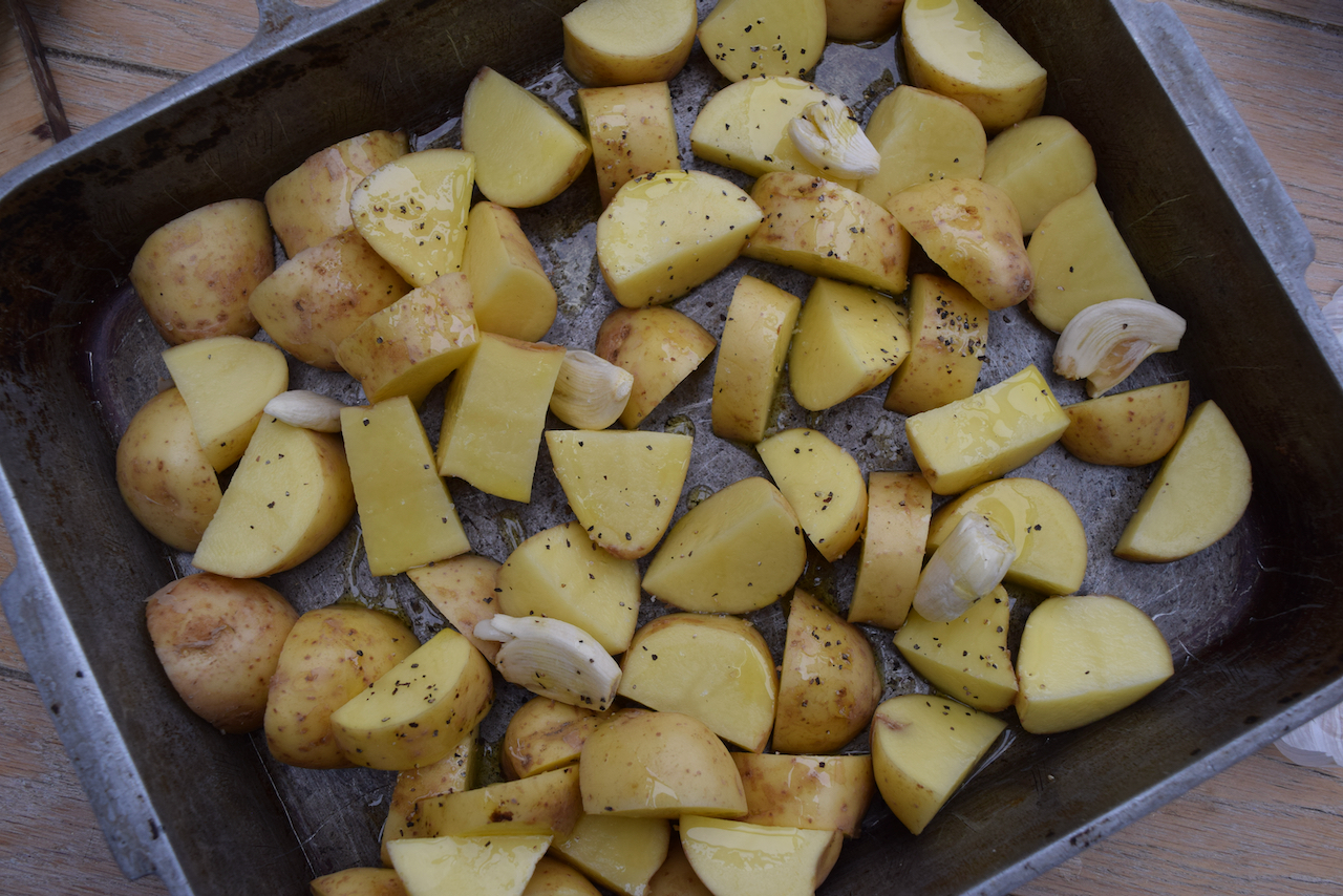 Halloumi, Potato and Green Bean Bake recipe from Lucy Loves Food Blog