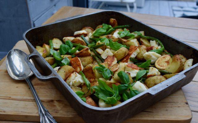 Halloumi, Potato and Green Bean Bake