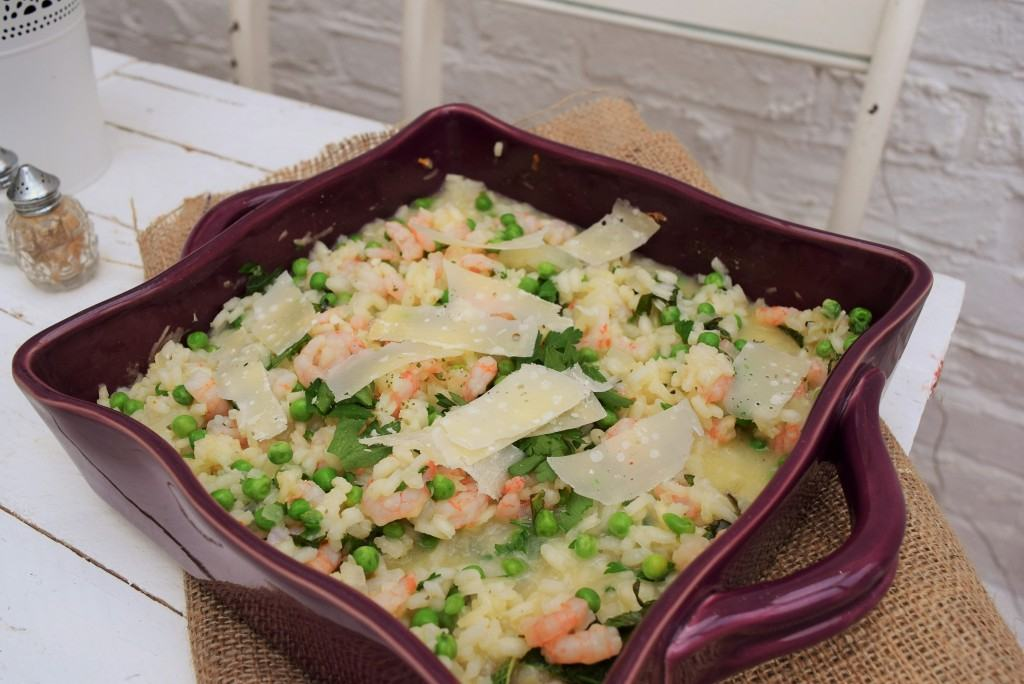 Baked Prawn, pea and mint risotto-lucyloves-foodblog